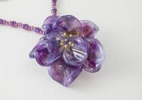 Purple Lampwork Rose Necklace