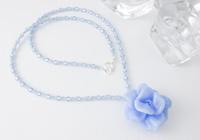 Blue Lampwork Rose Necklace
