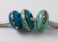 Teal and Turquoise Lampwork Charm Beads