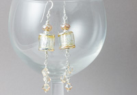 Golden Barrel Lampwork Earrings