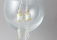 Golden Barrel Lampwork Earrings