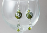 Green Leaf Lampwork Earrings