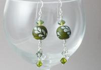 Green Leaf Lampwork Earrings