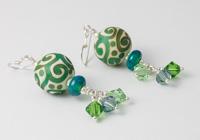 Green Swirl Lampwork Earrings alternative view 1