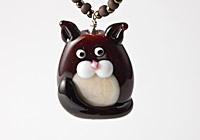 """Chocolate"" Lampwork Cat Necklace"