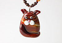 """Pecan"" Lampwork Cat Necklace"