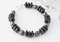 Haematite Disc and Barrel Bracelet