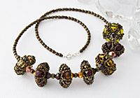 "Beaded Bead Necklace ""Embers"""