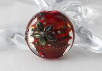 Red Lampwork Flower Bead