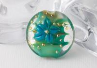 Green Lampwork Flower Bead
