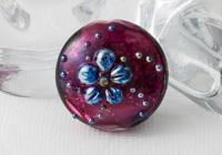 Pink Lampwork Flower Bead