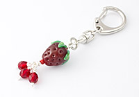 Strawberry Lampwork Handbag Charm