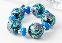 Blue Glitter Flower Lampwork Beads