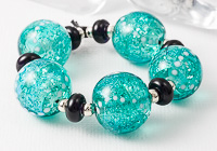 Teal Dichroic Lampwork Beads