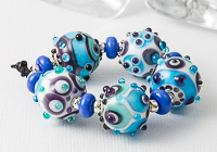 Turquoise and Purple Graphics Lampwork Beads