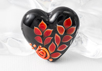 Red Leafy Heart Bead