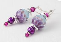Pink Dahlia Lampwork Earrings