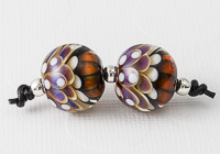 Peacock Dahlia Lampwork Beads