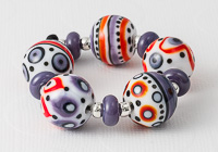 Red and Purple Graphics Lampwork Beads