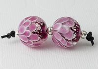 Pink Glitter Dahlia Lampwork Beads