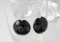 Black Lentil Lampwork Earrings