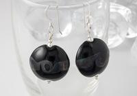 Black Lentil Lampwork Earrings