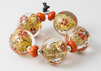 Large Golden Lampwork Beads