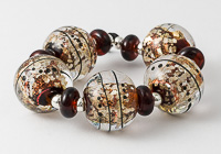 Dark Amber Dichroic Lampwork Beads