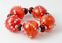 Orange Dichroic Lampwork Beads
