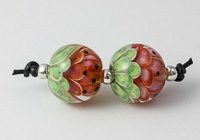 Melon Lampwork Dahlia Bead Pair
