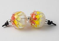 Yellow Lampwork Dahlia Bead Pair