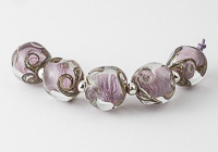 Pale Purple Nugget Lampwork Beads