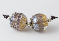 Purple and Gold Lampwork Dahlia Bead Pair