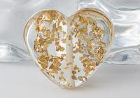 Gold Glittery Heart Lampwork Bead