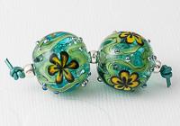 Turquoise Flower Lampwork Bead Pair
