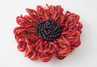 Rusty Orange Flower Brooch