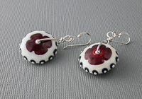 Red Wheel Lampwork Earrings