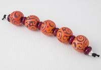 Orange and Purple Scroll Lampwork Beads alternative view 1