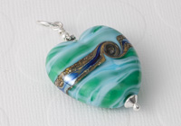 Sea Heart Lampwork Pendant alternative view 2
