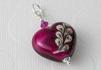 Pink Heart Lampwork Pendant