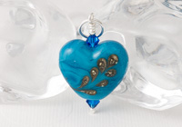 Blue Heart Lampwork Pendant