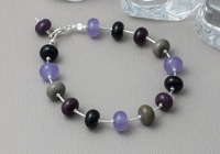 Purple and Silver Lampwork Bracelet