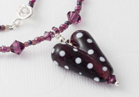 Amethyst Lampwork Heart Necklace