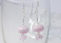 Pale Pink Lampwork Earrings