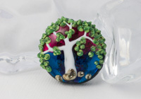White Tree Lampwork Bead