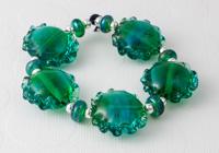 Teal Wave Lampwork Beads