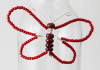 Red Beaded Butterfly Decoration