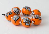 Orange Leafy Lampwork Beads
