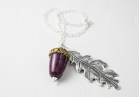 Acorn and Leaf Pendant Necklace