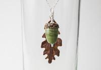 Acorn and Leaf Pendant Necklace alternative view 1